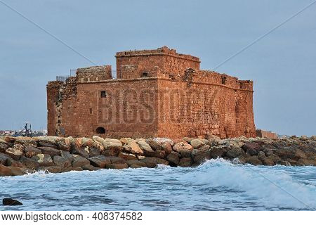 Paphos, Cyprus - 05 Jan 2016: The Ancient Castle On The Coast Of Mediterranean Sea In Paphos, Cyprus