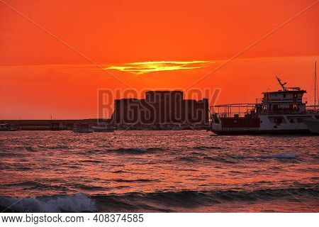 Paphos, Cyprus - 05 Jan 2016: Sunset On The Seafront In Paphos, Cyprus