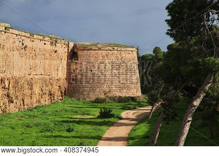 Famagusta, Northern Cyprus - 08 Jan 2016: The Ancient Fortress In Famagusta, Northern Cyprus