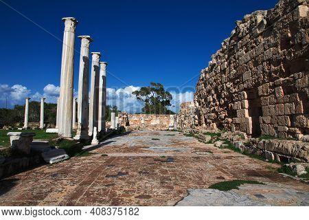 Salamis, Northern Cyprus - 08 Jan 2016: Ancient Ruins Salamis In Northern Cyprus Close Famagusta