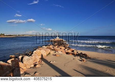 Potamos, Cyprus - 08 Jan 2016: The Coastline Of Mediterranean Sea, Potamos Village, Cyprus