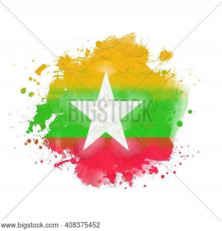 National Flag Of Myanmar, Watercolor. Splashes And Stains Isolated On White Background. Square Frami