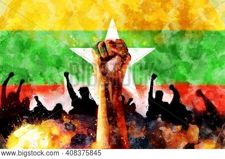 Fist Up Against The Background Myanmar Flag. Protest Watercolor Illustration. Fight For Justice, A S