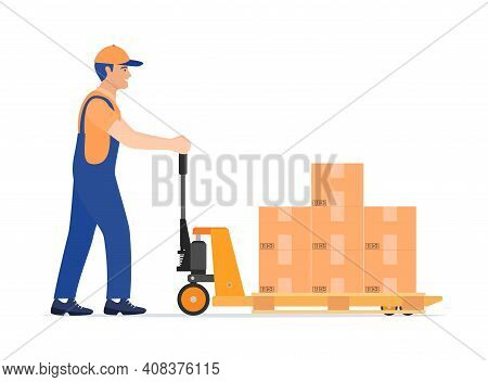 Hand Pallet Truck With Cardboard Box And Mover Isolated On White. Pallet Jack Full Of Carton Boxes.