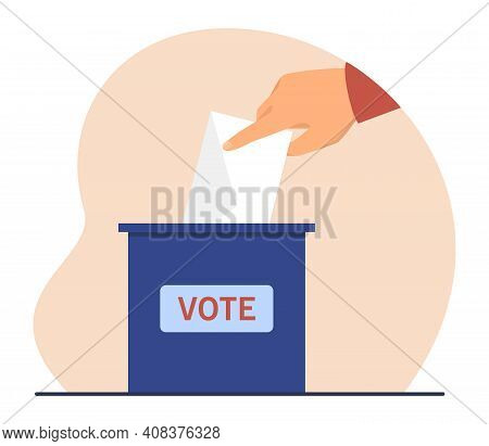 Hand Of Voter Throwing Paper Into Ballot Box. Person Voting President Or Political Candidate. Flat V