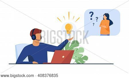 Operator Giving Answer To Puzzled User. Man In Headset Holding Shining Lightbulb. Flat Vector Illust