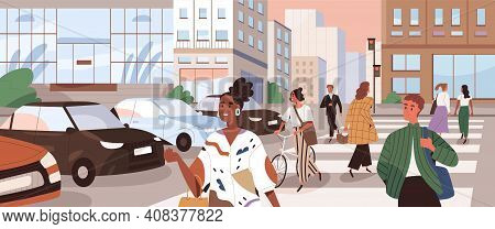 Horizontal Cityscape With People Crossing Road At Crosswalks. Panoramic View With Pedestrians And Cy