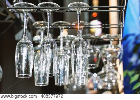Wine Glasses Upside Down. Clean Cafe Drink Cup. Empty Bar. Bistro Backdrop. Resaturant Space. Custom