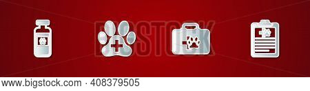 Set Pets Vial Medical, Veterinary Clinic, First Aid Kit And Clinical Record Pet Icon. Vector