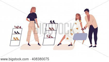 Woman Shopping In Retail Shoe Store Choosing Footwear With Help Of Salesman And Personal Fashion Sty