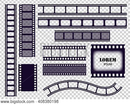 Film Strip Collection. Cinema Border Tapes Or Photo Negative Isolated On Transparent Background. Mon