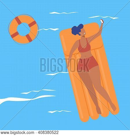 Happy Woman Floating With Air Raft In Sea, Taking Selfie. Tourists Taking Tan, Sunbathing. Flat Vect