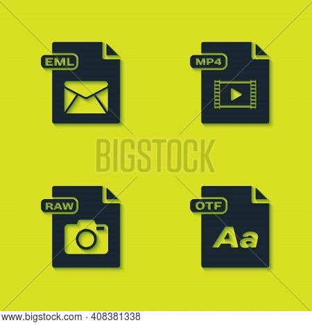 Set Eml File Document, Otf, Raw And Mp4 Icon. Vector