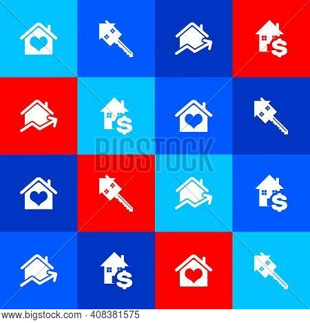 Set House With Heart Shape, Key, Rising Cost Of Housing And Dollar Icon. Vector