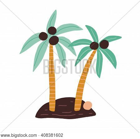 Island With Two Coconut Palm Trees With Growing Fruits And Fallen Coco Nut. Hand-drawn Tropical Coco
