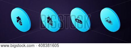 Set Isometric Hanging Sign With Sold, For Sale, Rising Cost Of Housing And House Dollar Icon. Vector