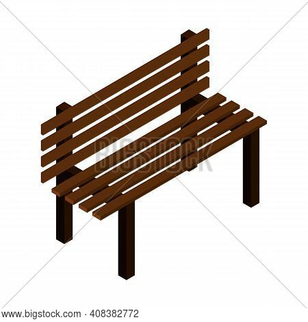 Outdoor Bench With A Backrest Brown With Metal Legs, A Bench For Parks