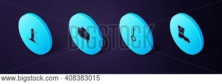Set Isometric Leather Pirate Boots, Pirate Key, Hat And Lighthouse Icon. Vector