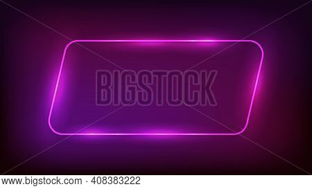 Neon Rounded Parallelogram Frame With Shining Effects On Dark Background. Empty Glowing Techno Backd