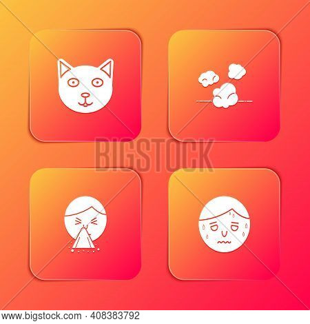 Set Pet, Dust, Handkerchief To His Runny Nose And Man With Excessive Sweating Icon. Vector
