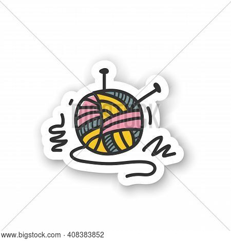 Knitting Sticker. Needle Pins And Wool Clew Ball. Creative Hobby Badge For Designs. Custom Sticker.