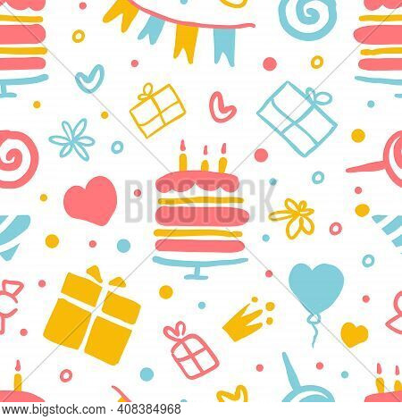 Kids Birthday Party Seamless Pattern, Happy Holiday Celebration Endless Repeating Print Can Be Used