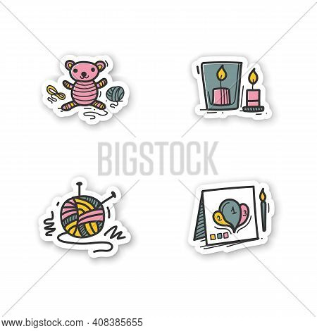 Craft Hobby Set Hand Drawn Stickers. Handmade And Homemade Badge For Designs. Consist Of Knitting, H