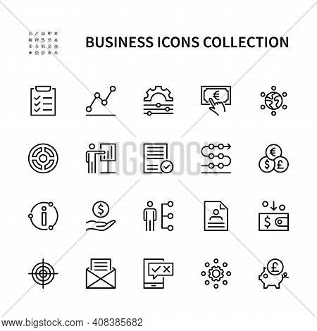 Business And Finance Vector Linear Icons. Business Management. Marketing Information Plan Goal Team