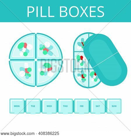 Set Of Pill Boxes.tablets And Capsules In A Plastic Organizer.medical Care, Weekly And Daily Medicat