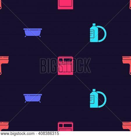Set Dishwashing Liquid Bottle And Plate, Bathtub, Kitchen Dishwasher Machine And Rubber Cleaner For