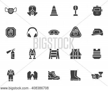 Safety Workwear Vector Icons Set, Mandatory Modern Solid Symbol Collection, Filled Style Pictogram P