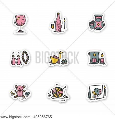 Craft Hobby Stickers. Handmade And Homemade Badge For Designs. Consist Of Knitting, Handmade Candles