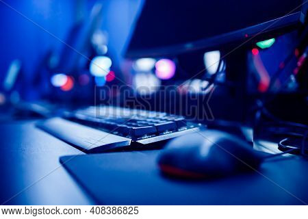 Professional Cyber Video Gamer Studio Room With Personal Computer Armchair, Keyboard For Stream In N