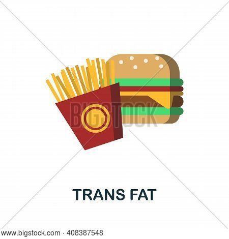 Trans Fat Flat Icon. Color Simple Element From Nutrition Collection. Creative Trans Fat Icon For Web