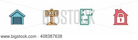 Set Garage, Hanging Sign With Sale, House Plan And Under Protection Icon. Vector