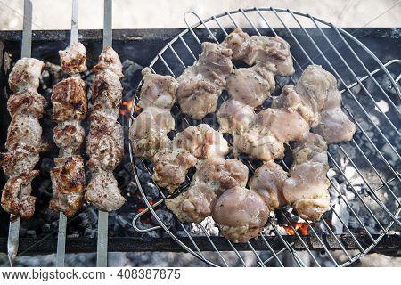 Grilled Kebab Cooking On Metal Skewer. Roasted Meat Cooked At Barbecue. Bbq Fresh Beef Meat Chop Sli