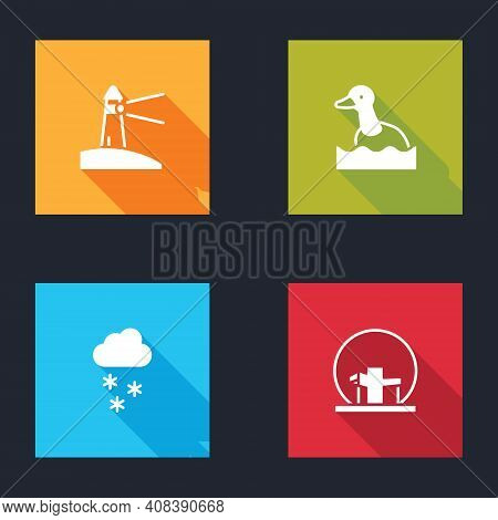 Set Lighthouse, Flying Duck, Cloud With Snow And Montreal Biosphere Icon. Vector