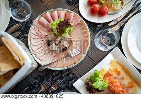 Catering Table Set Service With Silverware And Glass Stemware At Restaurant Before Party. Served Tab