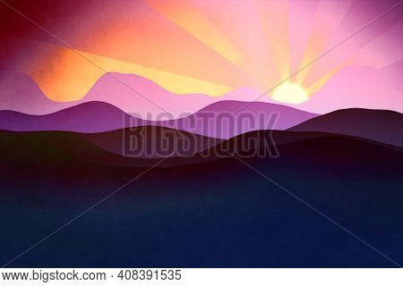 An illustration of a flat layers landscape background with the sun
