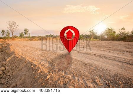 Piece Of Land For Sale With Pin Icon, Land Plot For Housing Construction Project With Car Tire Print