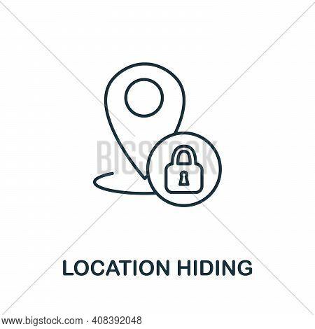 Location Hiding Icon. Monochrome Simple Location Hiding Icon For Templates, Web Design And Infograph