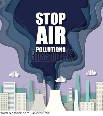 Paper Cut Craft Style Smoke From Air Polluting Factory, Thermal Power Plant Chimney. Stop Air Pollut
