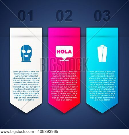 Set Mexican Wrestler, Hola And Burrito. Business Infographic Template. Vector