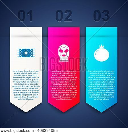 Set Mexican Carpet, Wrestler And Tomato. Business Infographic Template. Vector
