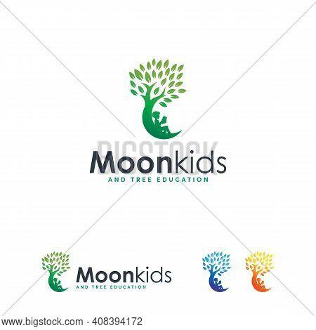 Kids Dream Logo Concept Vector, Kids Moon Logo Icon, Child And Tree Logo Symbol