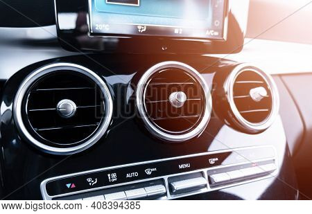 Ac Ventilation Deck In Luxury Modern Car Interior. Modern Car Black Leather Interior. Natural Wood P