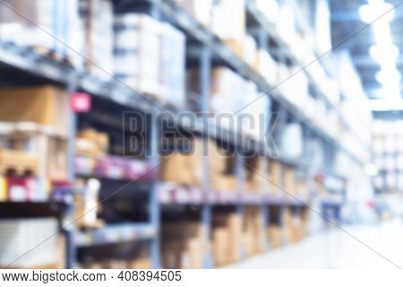 Blur Warehouse Background. Blurred Store Factory.  Industry Warehouse Space. Abstract Bokeh Light Ba