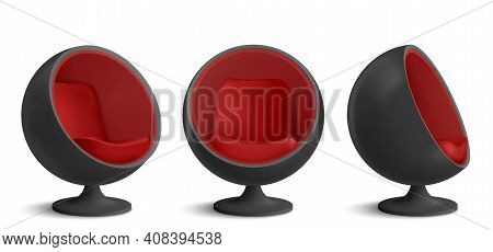 Black And Red Ball Chair, Designers Furniture For Modern Stylish House Or Office Interior In Front A