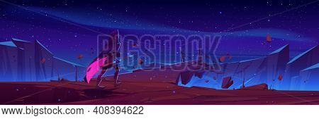 Wizard With Magic Spear Walk To Hanging Rope Bridge Over Abyss In Mountains. Vector Cartoon Fantasy