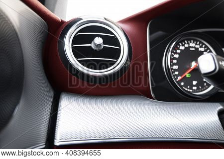 Ac Ventilation Deck In Luxury Modern Car Interior. Modern Car Red Leather Interior. Natural Carbon P